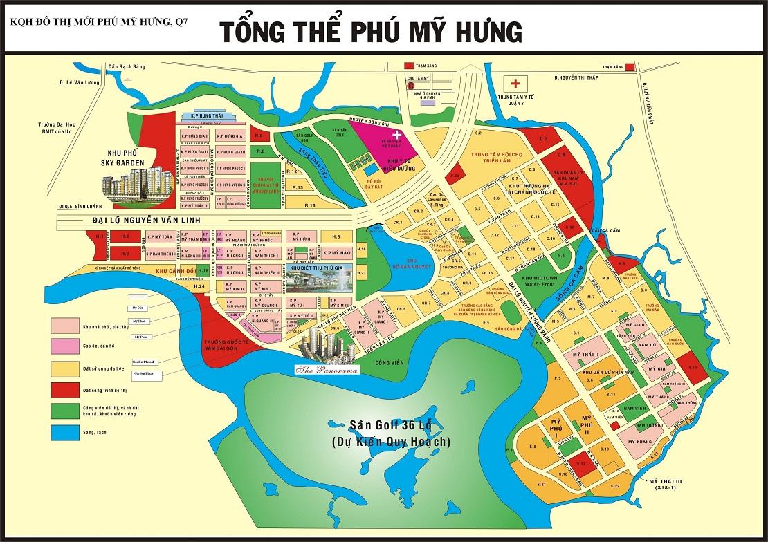 Bản đồ quy hoạch tổng thể khu đô thị Phú Mỹ Hưng Quận 7
