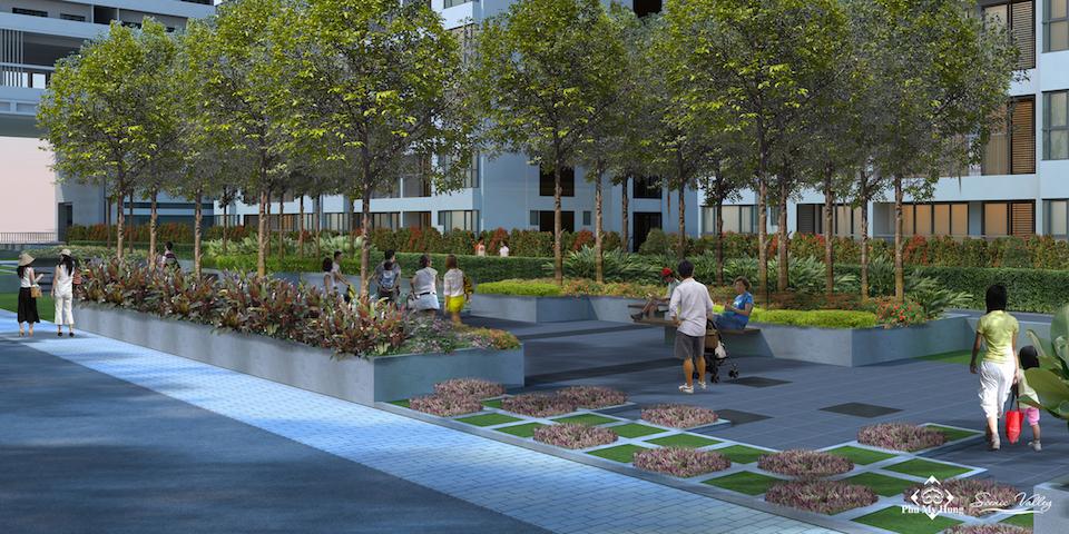 Các mảng xanh, lối dạo bộ được chăm chút đem lại không gian sống trong lành đầy hứng khởi