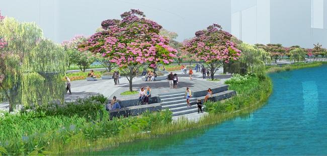 Cong vien Sakura Park vuot mat pho di bo Nguyen Hue.