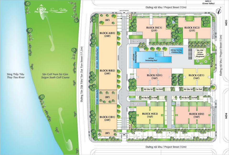 Mặt bằng tổng thể căn hộ chung cư Scenic Valley Phú Mỹ Hưng
